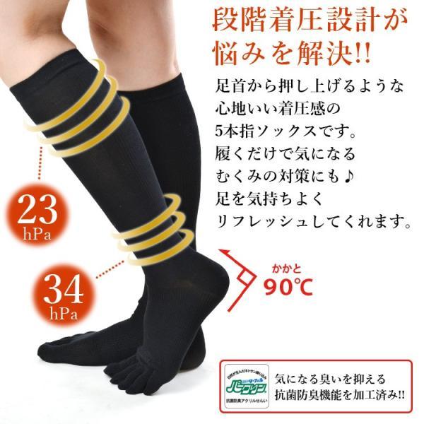 メール便送料無料 3足セット 日本製 5本指 着圧ハイソックス 靴下 レディース ファッション m-mall 04