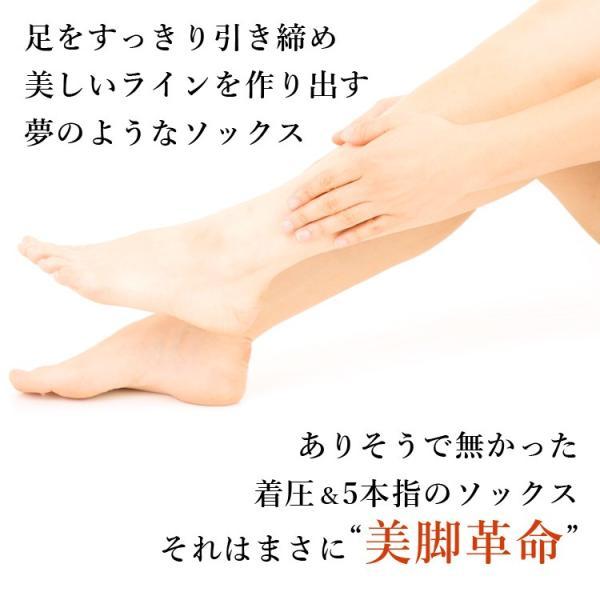 メール便送料無料 3足セット 日本製 5本指 着圧ハイソックス 靴下 レディース ファッション m-mall 06