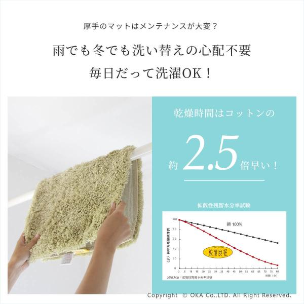 バスマット 吸水 速乾 乾度良好(かんどりょうこう) バスマット Dナチュレ 約45cm×65cm (おしゃれ お風呂マット) オカ 新生活|m-rug|07