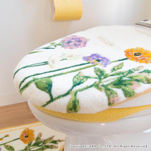 フタカバー (吸着シート・ドレニモタイプ 洗浄暖房型 普通型兼用)  ボタニカルガーデン  (北欧 トイレ おしゃれ 洗濯可 トイレ用品 日本製)  オカ|m-rug|10