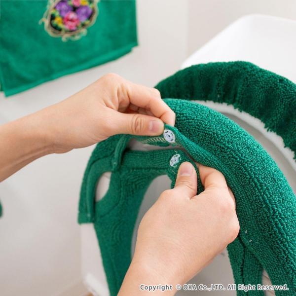 便座カバー (洗浄暖房型 ソフトホックタイプ)   シェニールロゼ (ウォシュレット トイレカバー 便座 洗える 洗濯可) オカ|m-rug|06