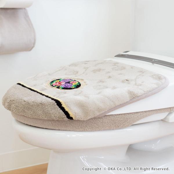 フタカバー (吸着シート・ドレニモタイプ 洗浄暖房型 普通型 兼用)  シェニールロゼ (トイレカバー ウォシュレット 高級 シェニール織 洗える 洗濯可) オカ m-rug 15