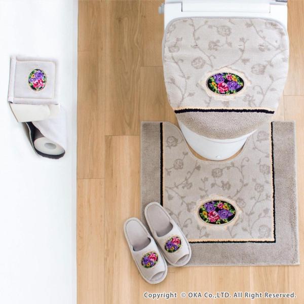 フタカバー (吸着シート・ドレニモタイプ 洗浄暖房型 普通型 兼用)  シェニールロゼ (トイレカバー ウォシュレット 高級 シェニール織 洗える 洗濯可) オカ m-rug 04