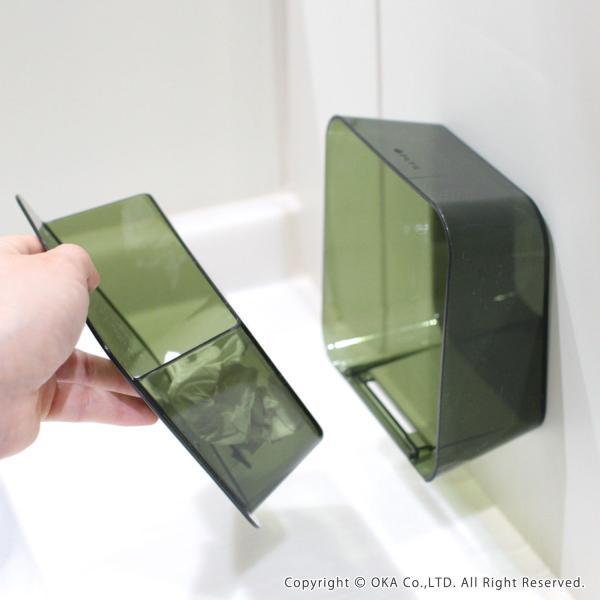 ゴミ箱 PLYS base (プリスベイス) 洗面ゴミ箱 小さい 壁 貼り付けられる マジックテープ クリア 小さめ グッドデザイン賞 m-rug 07