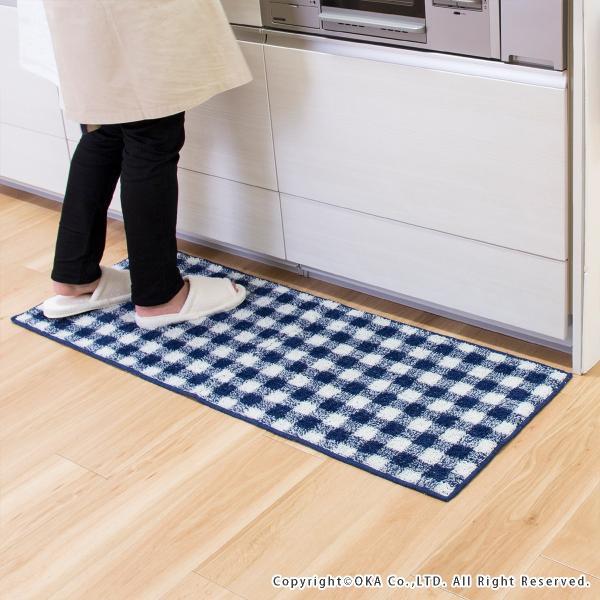 キッチンマット 約120cm×45cm ギンガムチェックキッチンマット(洗える おしゃれ チェック かわいい) オカ|m-rug|02