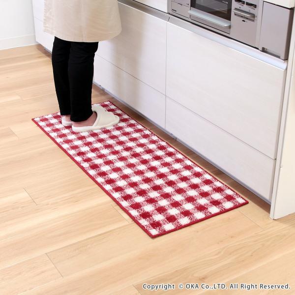 キッチンマット 約120cm×45cm ギンガムチェックキッチンマット(洗える おしゃれ チェック かわいい) オカ|m-rug|14