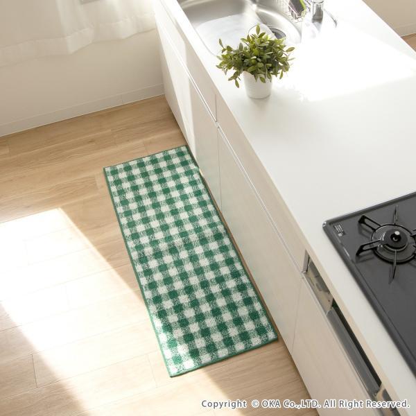キッチンマット 約120cm×45cm ギンガムチェックキッチンマット(洗える おしゃれ チェック かわいい) オカ|m-rug|15