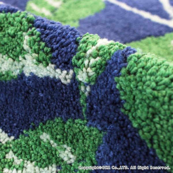 玄関マット 室内 リーフブルー 約45×75cm   (コーナー吸着つき 洗える 日本製 ウィルトン織り すべり止め付き おしゃれ)  オカ|m-rug|03