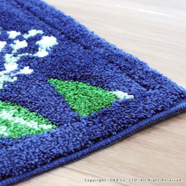 玄関マット 室内 リーフブルー 約45×75cm   (コーナー吸着つき 洗える 日本製 ウィルトン織り すべり止め付き おしゃれ)  オカ|m-rug|05