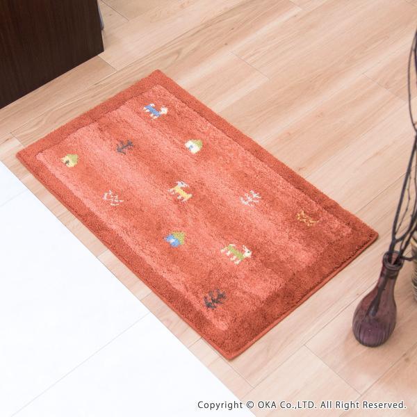 玄関マット 室内 ギャベ 約45×75cm   (コーナー吸着つき 吸着シート 洗える 日本製 ウィルトン織り おしゃれ ギャッベ)  オカ|m-rug|10
