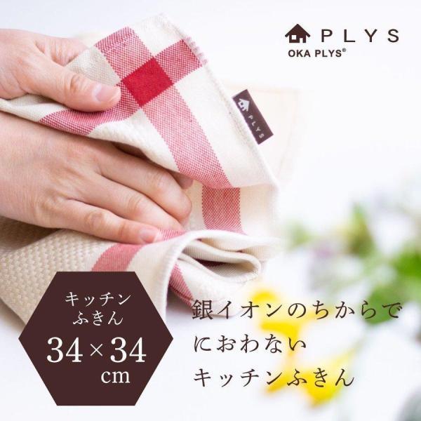 ふきん PLYS base (プリス ベイス) キッチンふきん 約34×34cm (キッチン用品 除菌 銀イオン Ag+ おしゃれ シンプル)|m-rug