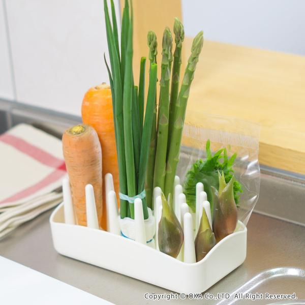 "PLYS 冷蔵庫収納 野菜スタンド ""たてる"" (ベジマジ 野菜保存 ベジタブル 野菜 長期保存 冷蔵庫 食洗機 長持ち) オカ|m-rug|09"
