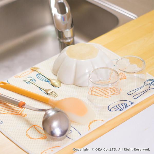 水切りマット (水切り吸水マット ドライングマット 食器 乾燥 乾かす おしゃれ 吸水 食器置き) オカ|m-rug|09