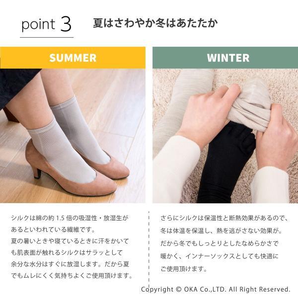 シルク5本指靴下 レディースサイズ  (暖かい あったか  日本製 ソックス シルク 五本指 インナーソックス)  オカ m-rug 05