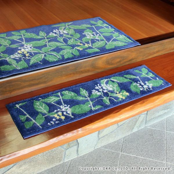 玄関マット 室内 リーフブルー 約30×110cm   (コーナー吸着つき 洗える 日本製 ウィルトン織り すべり止め付き おしゃれ かまち 框)  オカ|m-rug|03