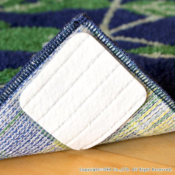 玄関マット 室内 リーフブルー 約30×110cm   (コーナー吸着つき 洗える 日本製 ウィルトン織り すべり止め付き おしゃれ かまち 框)  オカ|m-rug|05