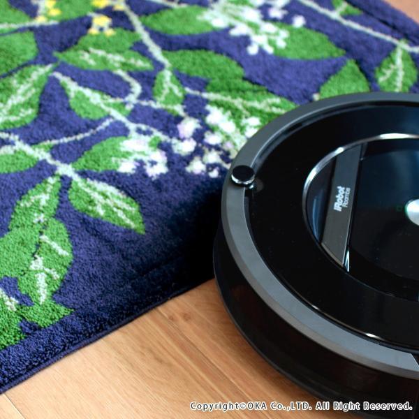 玄関マット 室内 リーフブルー 約30×110cm   (コーナー吸着つき 洗える 日本製 ウィルトン織り すべり止め付き おしゃれ かまち 框)  オカ|m-rug|06