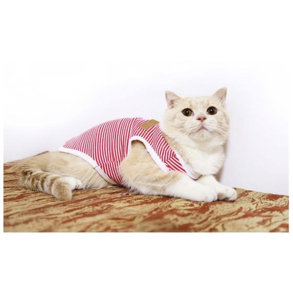 タンクトップ ストライプ ボーダー Tシャツ かわいい 抜け毛対策 猫服 ウェア 春夏 薄手|m7m|07