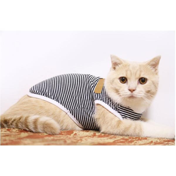 タンクトップ ストライプ ボーダー Tシャツ かわいい 抜け毛対策 猫服 ウェア 春夏 薄手|m7m|09