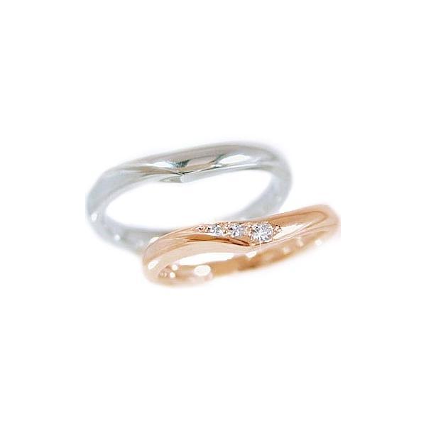 ダイヤモンド ピンクゴールド ホワイトゴールド 結婚指輪 マリッジリング ペアリング 2本セット ダイヤ 0.03ct