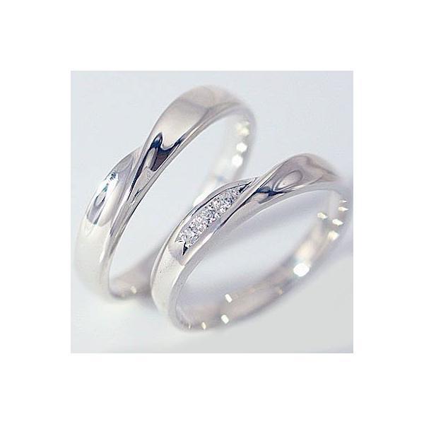 ダイヤモンド ホワイトゴールド 結婚指輪 ペアリング マリッジリング ペア 2本セット K18wg 指輪 ダイヤ 0.03ct
