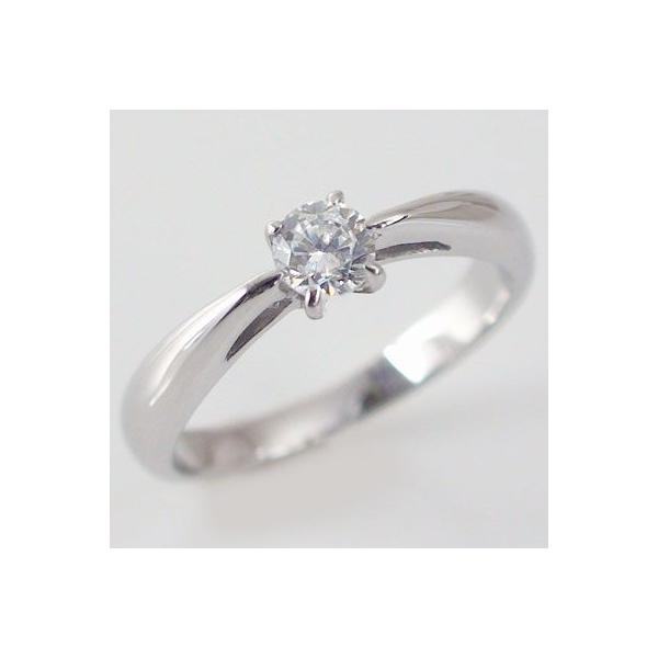 鑑定書付 ダイヤモンド プラチナ 婚約指輪 エンゲージリング ダイヤ 0.5ct E-VVS2-3EX H&C 4本爪 立爪 Pt900