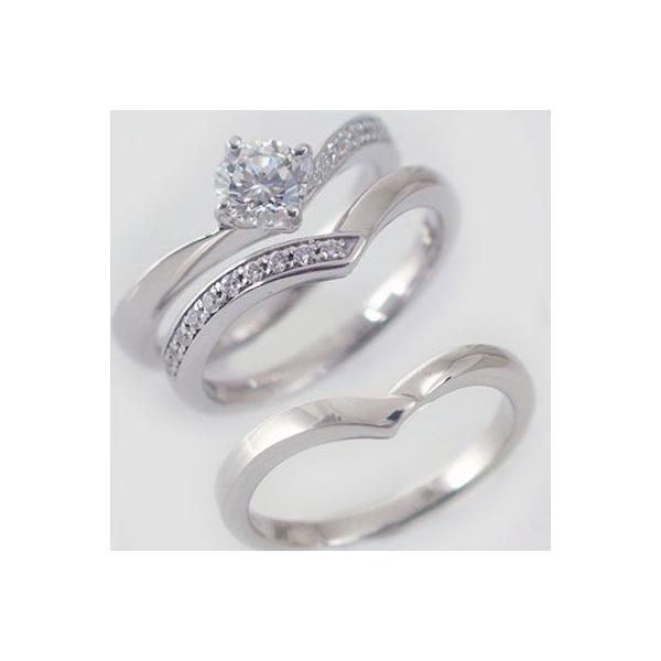 鑑定書付 プラチナ ダイヤモンド 婚約指輪 エンゲージリング 結婚指輪 マリッジリング 3本セット ダイヤ 0.5ct G-SI2-Good V字 Pt900