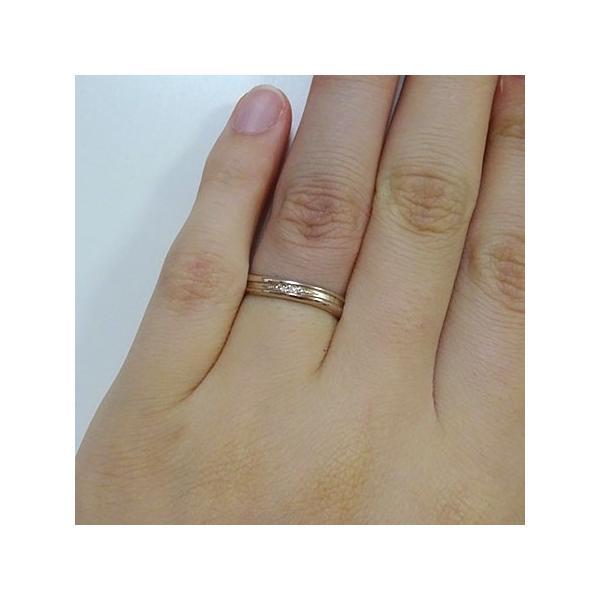 ダイヤモンド ピンクゴールドk18 ペアリング 2本セット 結婚指輪 マリッジリング K18pg ダイヤ 0.01ct