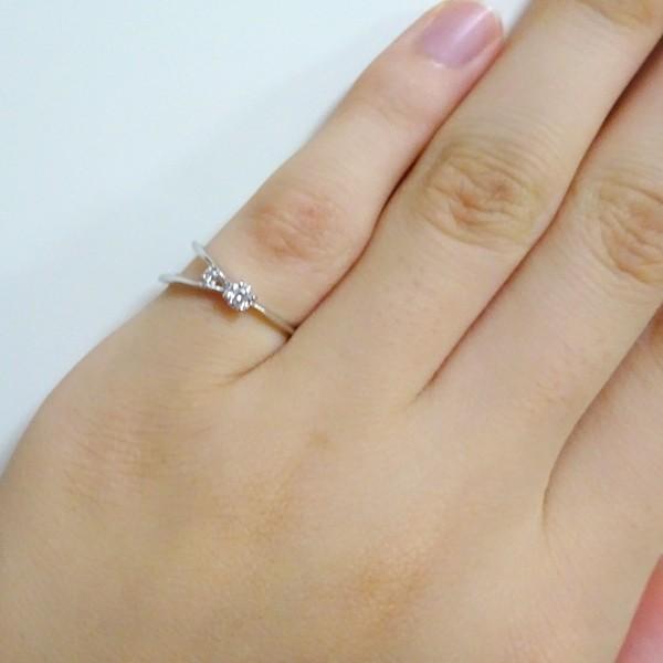 ホワイトゴールド K10 ダイヤモンド リング K10wg ダイヤ ピンキーリング