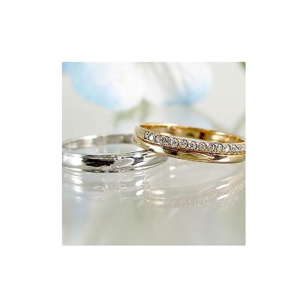 ダイヤモンド ピンクゴールド ホワイトゴールド 結婚指輪 ペアリング マリッジリング エタニティー ペア 2本セット K18 指輪 ダイヤ 0.10ct