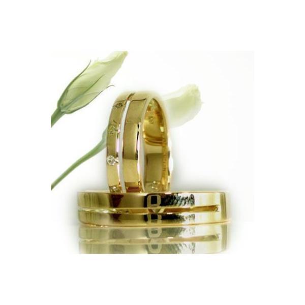 ダイヤモンド イエローゴールド ペアリング 結婚指輪 マリッジリング 2本セット K18 指輪 ダイヤ 0.06ct