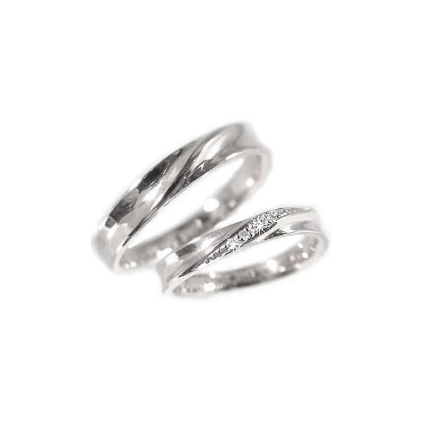 シルバー ペアリング 結婚指輪 マリッジリング 2本セット 天然 ダイヤモンド 0.02ct SV925 ストレート カップル|ma38