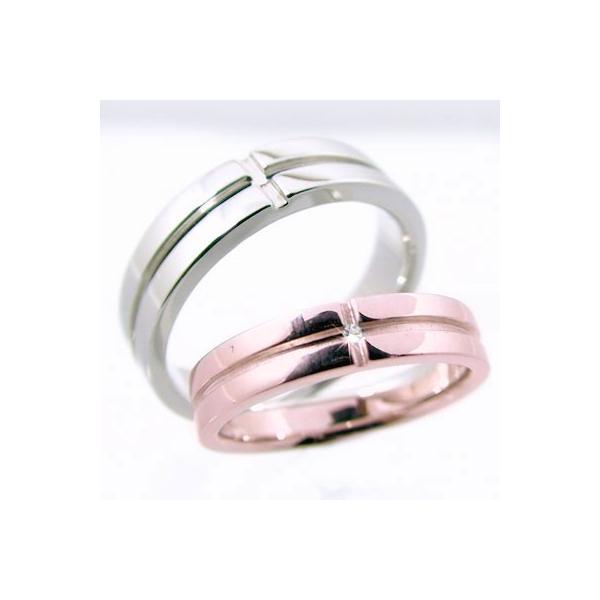 ダイヤモンド ピンクゴールド ホワイトゴールド クロス 結婚指輪 ペアリング マリッジリング ペア 2本セット K10pg K10wg 指輪 ダイヤ 0.01ct