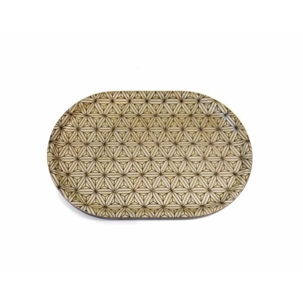 箱根寄木細工のトレー 八重麻の葉模様 白 楕円|maaoyama