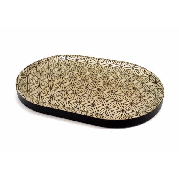 箱根寄木細工のトレー 八重麻の葉模様 白 楕円|maaoyama|02