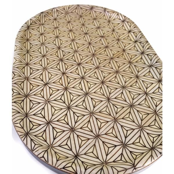 箱根寄木細工のトレー 八重麻の葉模様 白 楕円|maaoyama|04