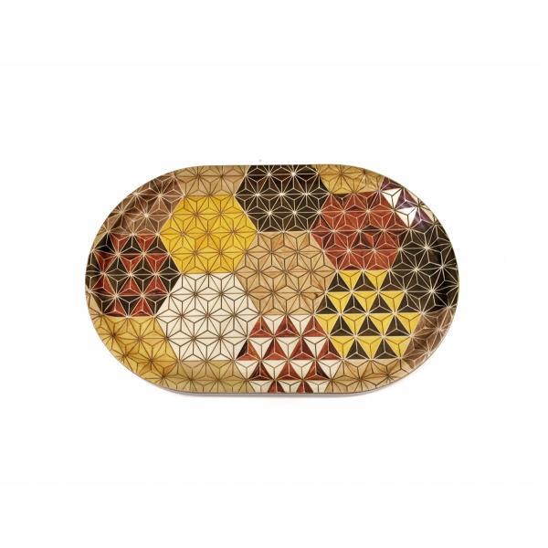 箱根寄木細工のトレー 麻の葉亀甲模様 楕円|maaoyama