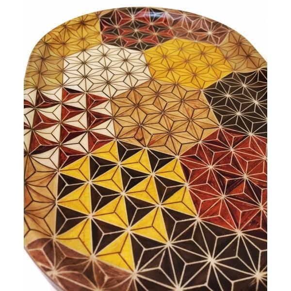 箱根寄木細工のトレー 麻の葉亀甲模様 楕円|maaoyama|04
