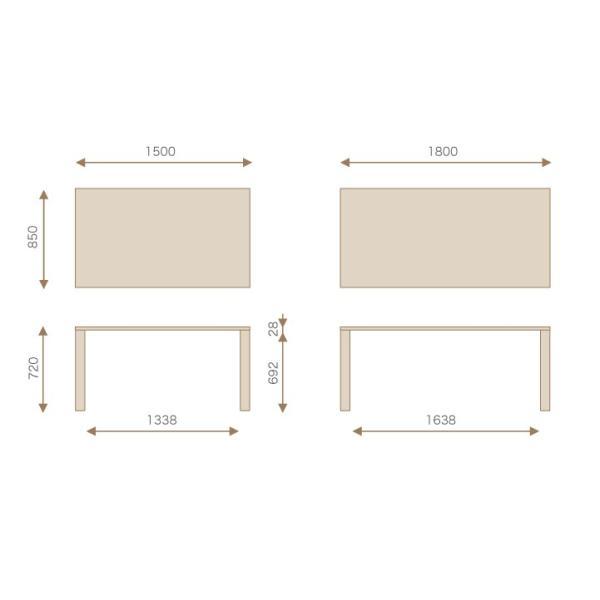 竹集成材のダイニングテーブル SOLID Dining Table W1500xD850xH720mm TEORI|maaoyama|06