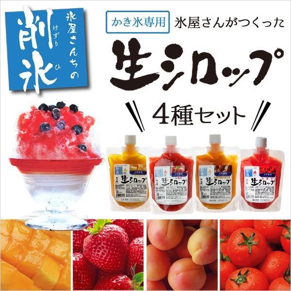 かき氷生シロップ 250g×4種セット 果実がそのまま 天然素材のかき氷シロップ いちご味 マンゴー味 あんず味 トマト味
