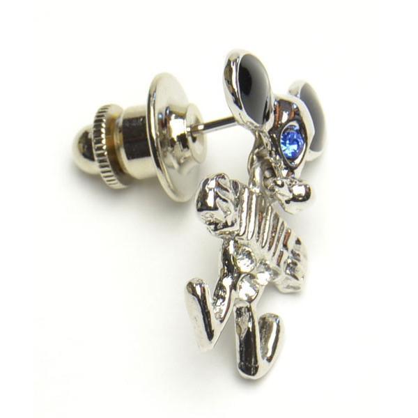 タックピン 楽器弾くネズミデザイン キヤスト シルバーカラー 青ラインストーン かわいいタックピン f-tap287