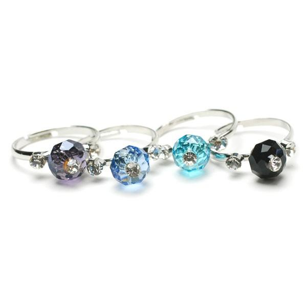 カットビーズ&ラインストーン リング フリーサイズ 指輪 レディース アクセサリー p30-ri584