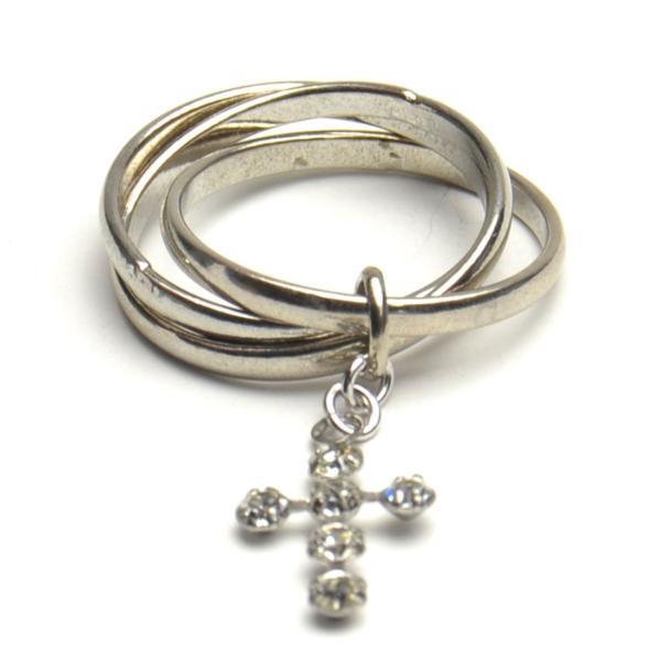 ラインストーン クロスチャーム付き 3連 リング 指輪 レディース メンズ アクセサリー p30-ri956