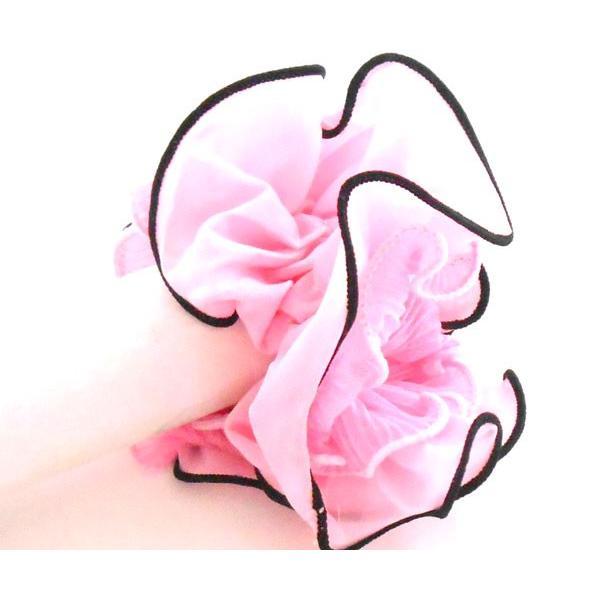 シュシュ ビッグボリューム  プリーツモチーフ ピンクカラー シンプルデザイン かわいい ガ〜リ〜 髪留め レディス p30-shu270   yy