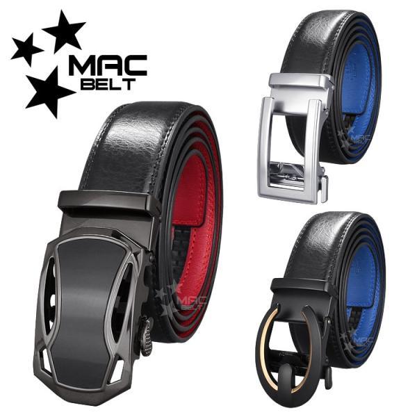 ベルト メンズ 革 MACBELT マックベルト 牛革 ビジネス ベルト メンズ 送料無料 黒×青 MBB