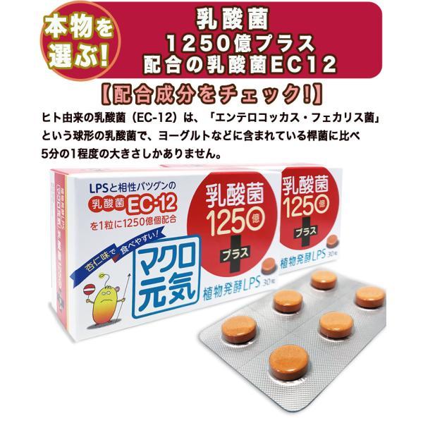 免疫ビタミンLPSマクロ元気乳酸菌1250億プラス(2個セット30粒+30粒)リポポリサッカライド+高濃度乳酸菌(EC-12)+アスタキサンチンサプリメント携帯/子供可能 macrogenki 03