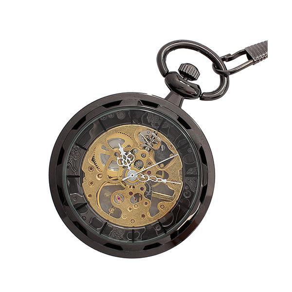 【エスピー】懐中時計 PWA001−BLK ポケットウォッチ 手巻き 機械式時計 メンズ時計