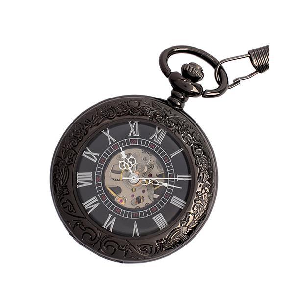 【エスピー】懐中時計 PWA002−BLK ポケットウォッチ 手巻き 機械式時計 メンズ時計