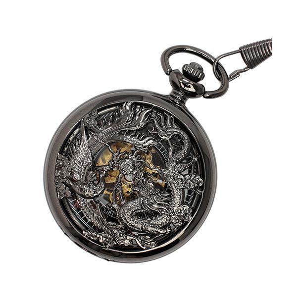【エスピー】懐中時計 PWA003−BLK ポケットウォッチ 手巻き 機械式時計 メンズ時計