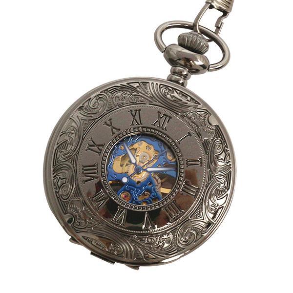 【エスピー】懐中時計 PWA007−BKBL ポケットウォッチ 手巻き 機械式時計 メンズ時計